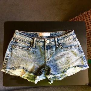 No Boundaries Denim Shorts with Lace Details
